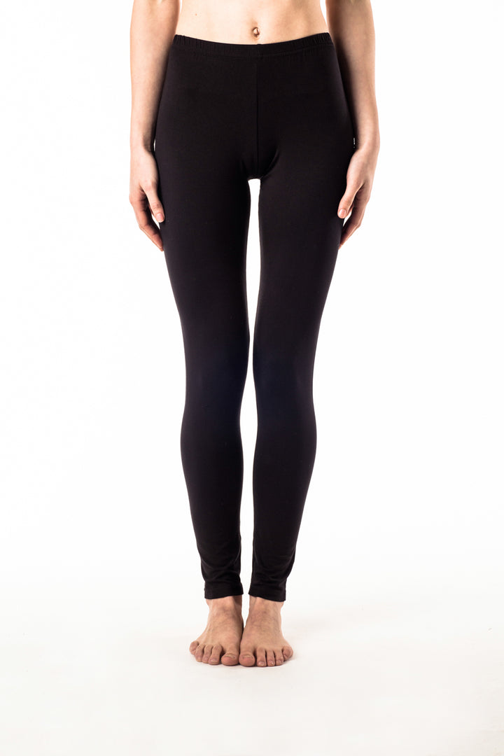 Black, natural leggings with knee detail feel amazing to wear. Slow fashion, made with eco organic cotton hemp blend. Perfect for yoga, daywear and dancing the night away.