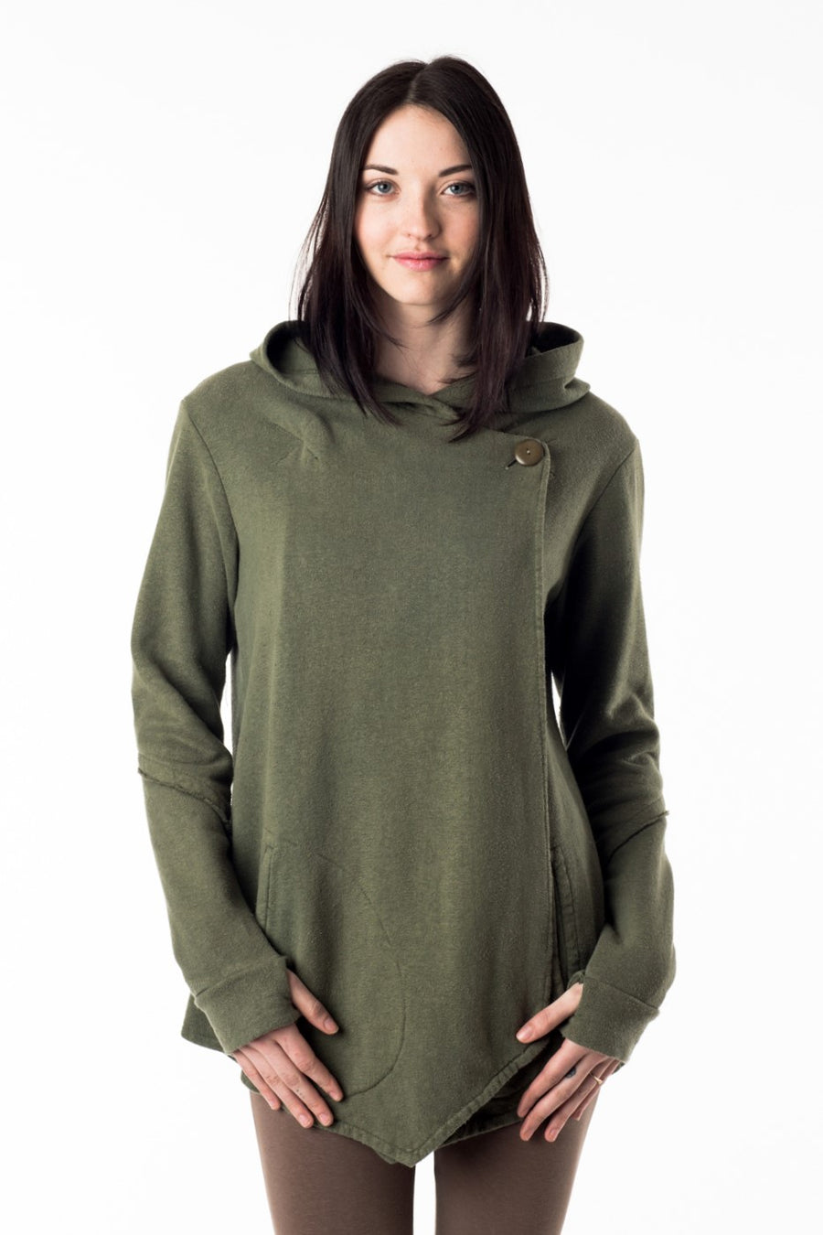 Slow fashion for the love of Gaia. Our eco lux organic cotton hemp fleece hoodie with pockets, comes in grey and is ethically made in Vancouver BC. Embrace your inner earth goddess!