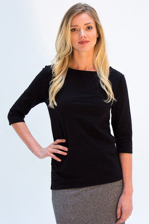 Our best selling top with a boat neck and 3/4 sleeves. It's a classic! Comes in black, peacock blue, gold and paprika red. Made from organic cotton and hemp in Vancouver BC