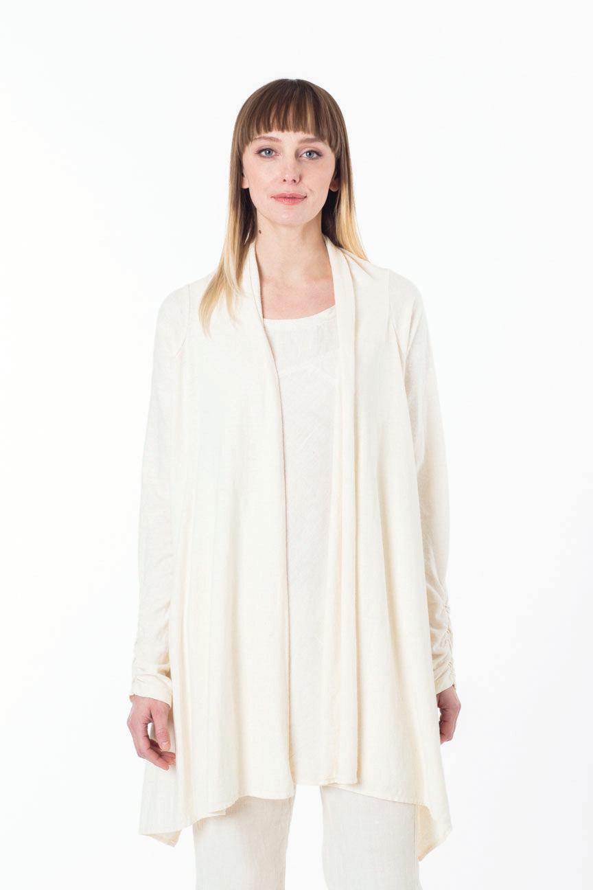 Flow cardigan in natural, brown and grey is perfect for everyday wear for everyone. This organic lux fabric feels great as a yoga cover up and for meditation. Slow eco fashion ethically made in Canada.