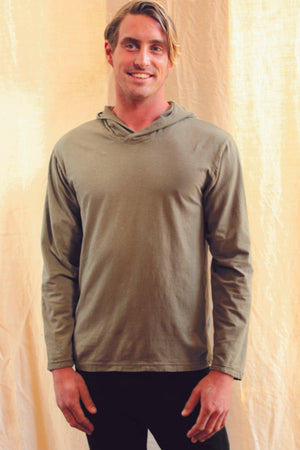 Men's hooded long sleeve top in black and beige is a perfect fit with it's regular cut and breathable eco organic cotton hemp blend. Slow fashion made on the west coast in Canada.