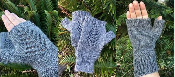 Lace Tree Wrist Warmers Fingerless Alpaca Yarn Mittens