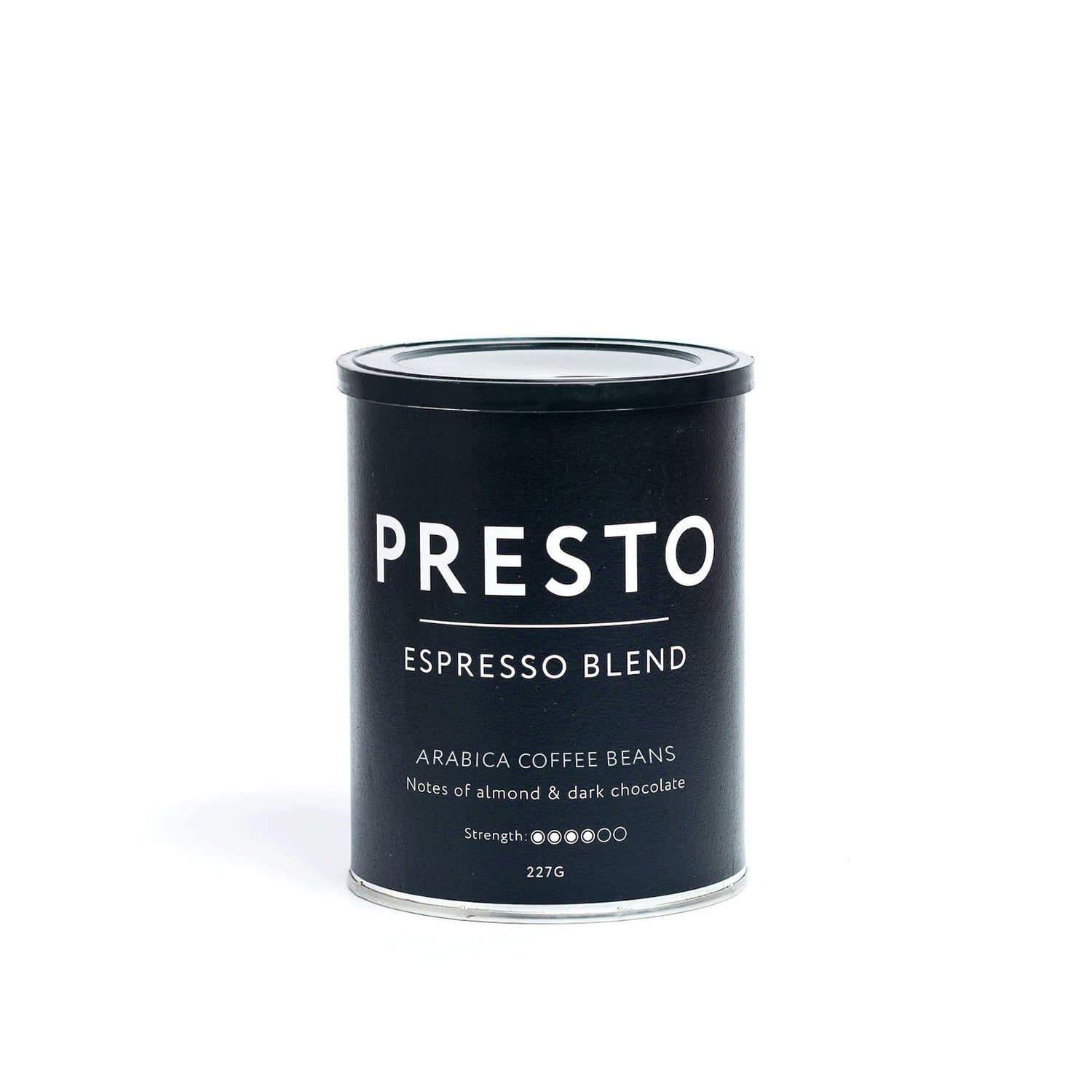 Presto Espresso Coffee Beans - Refillable Coffee Bean Tin - 227g