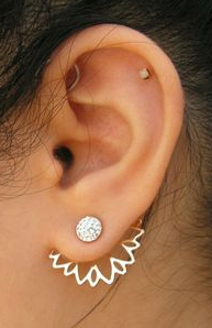 Crystal Flower Stud Ear Jackets