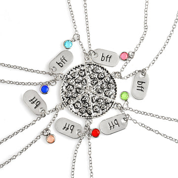 6 Piece BFF Rhinestone Pizza Necklaces Set