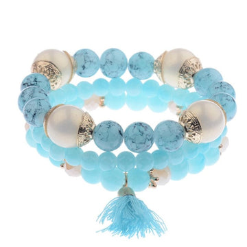 3 Piece Beaded Tassel Bracelet Set