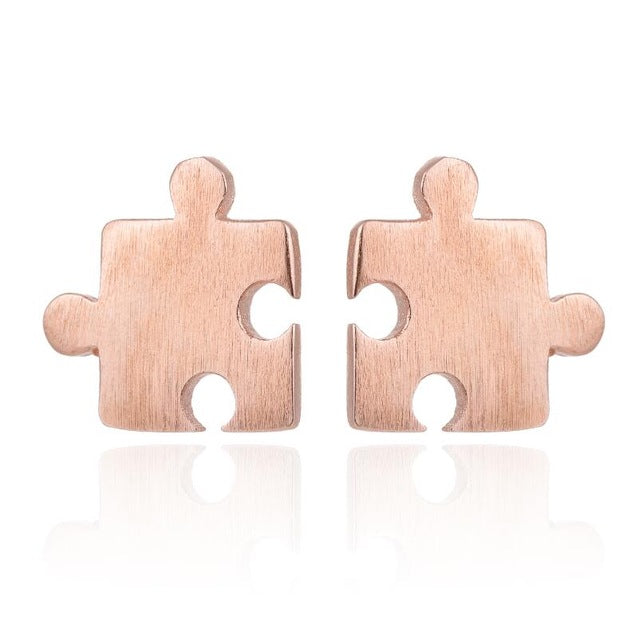 Brushed Puzzle Piece Stud Earrings