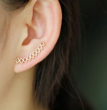Geometric Crawler Stud Earrings