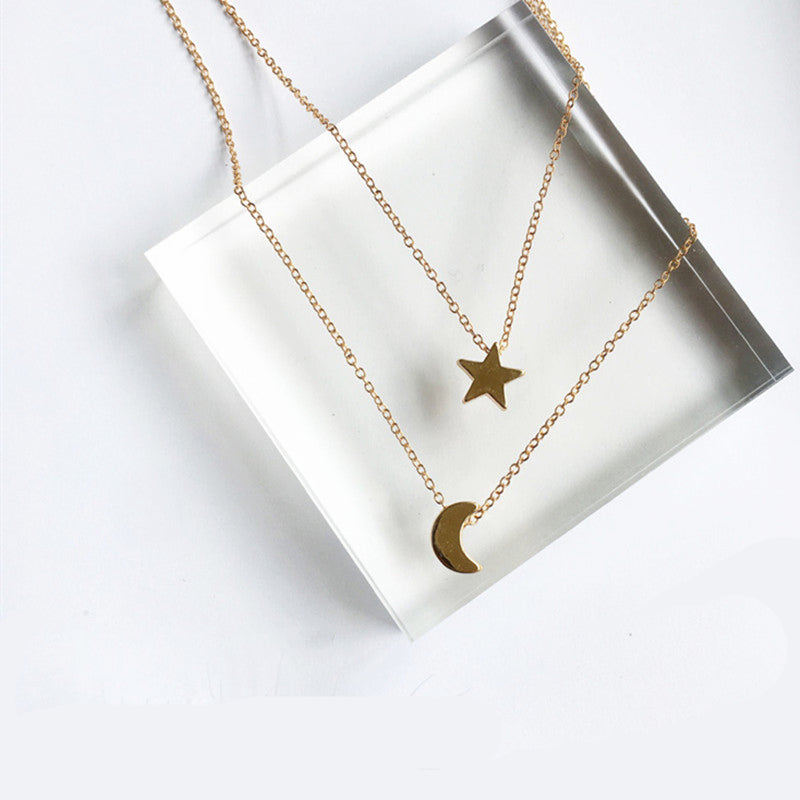 Multi-Layer Moon Star Pendant Necklace