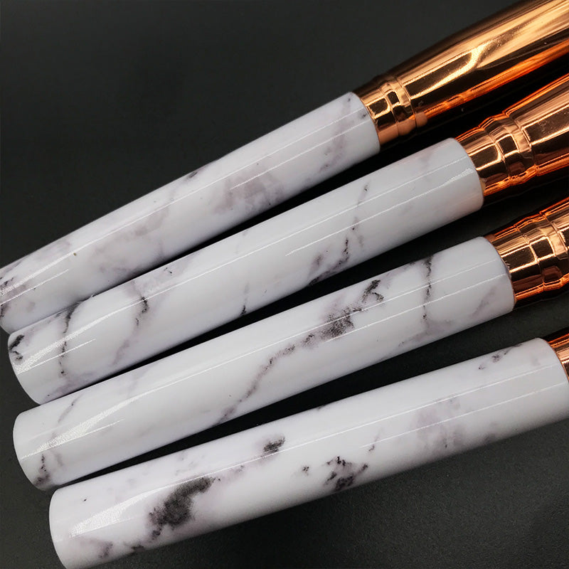 10 Piece Professional Marble Handle Makeup Brushes