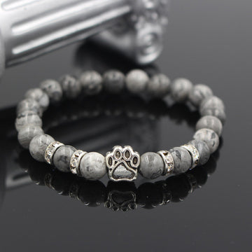 Natural Stone Beaded Bracelet With Dog Paw