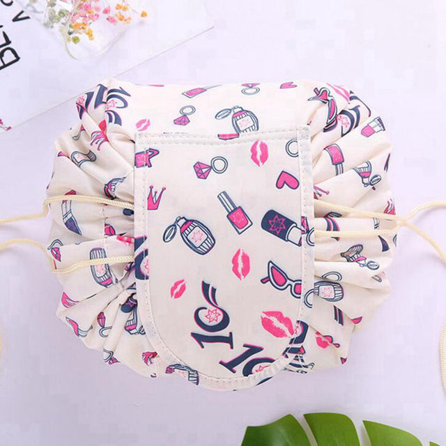 Drawstring Lay Flat Makeup Bag