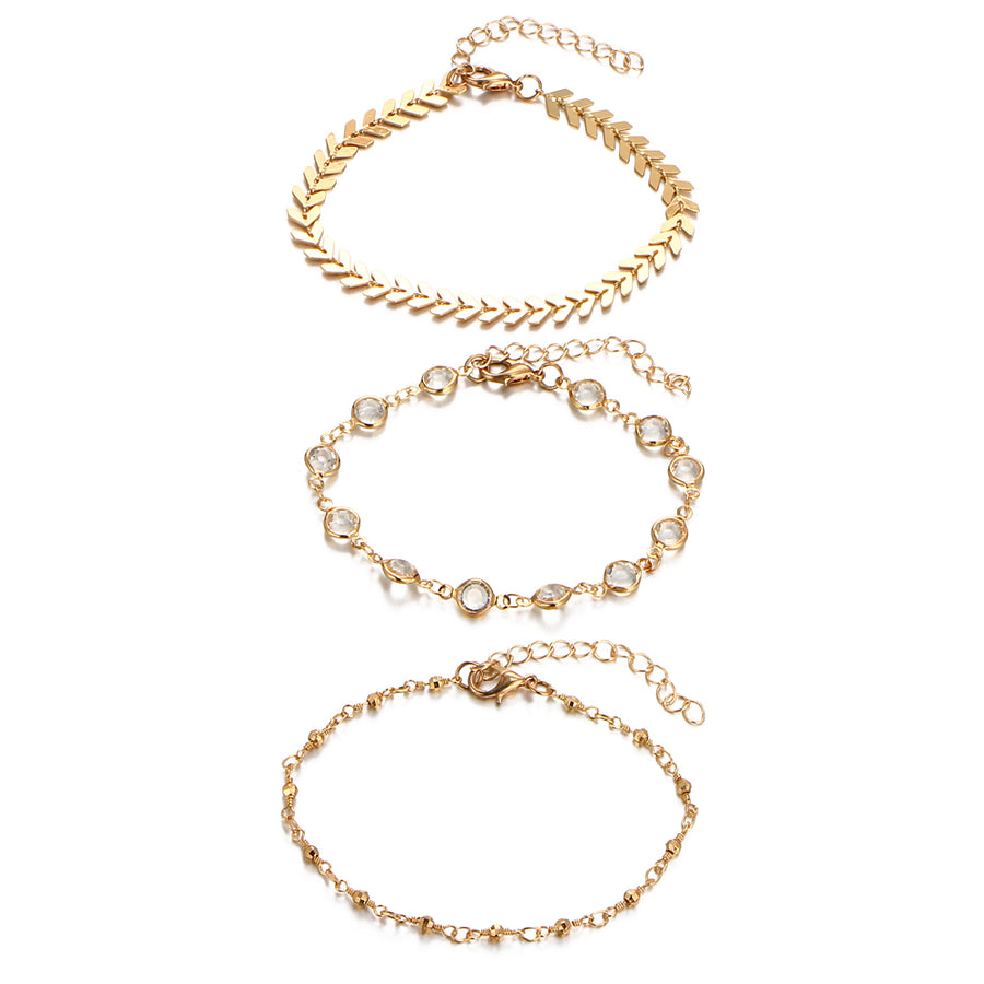 Three Piece Crystal Sequins Anklet Set