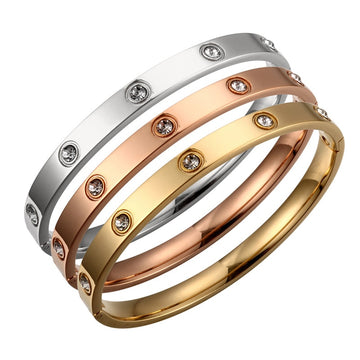 CZ Love Stoned Bangle Bracelet