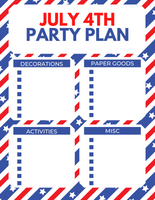 4th of July Party Planning Sheets