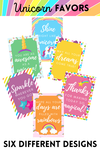 Unicorn Favors/Gift Tags (6 designs!)