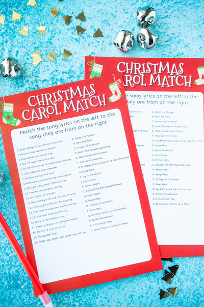 Christmas Carol Matching Game