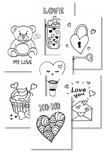 Valentine's Day Coloring Pages (10 pages)