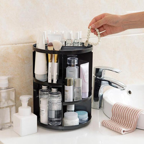 The 360 Rotating Makeup Organizer is the ultimate time saver! No more searching for makeup that's at the bottom of your beauty bag or dropping it all over the floor. This handy organizer is ideal for keeping all of your make-up clean and well-organized. It's easy to find exactly the make-up you're looking for because this organizer can be rotated 360 degrees! It's like a Lazy Susan for your cosmetics!  360 DEGREE ROTATION: This simple and awesome design allows you to store all of your makeup in a well organized fashion. It can spin in a complete circle, giving you easy access to all of your cosmetic items.  EXTRA LARGE CAPACITY: Being more organized means occupying less space! This spacious organizer can hold up to 30 makeup brushes, 20 skincare products and many other accessories, including lipsticks, nail polish, eyeliner, cleansing pads, jewelry, necklaces, rings, earrings, perfume, bathroom accessories and more all in one convenient base.   GREAT HOLDING CAPACITY: The steady base rotates smoothly and silently and ensures that your cosmetics stay in place, while the thick, durable trays are strong enough to bear the weight of heavy products.  EASY TO INSTALL & WASHABLE: Easy to assemble and disassemble the organizer following the guide; convenient to clean with a dis-mountable design and washable material.