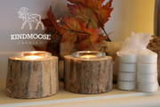 Pair of Natural Wood Tea Light Candle Holders with Tea Lights