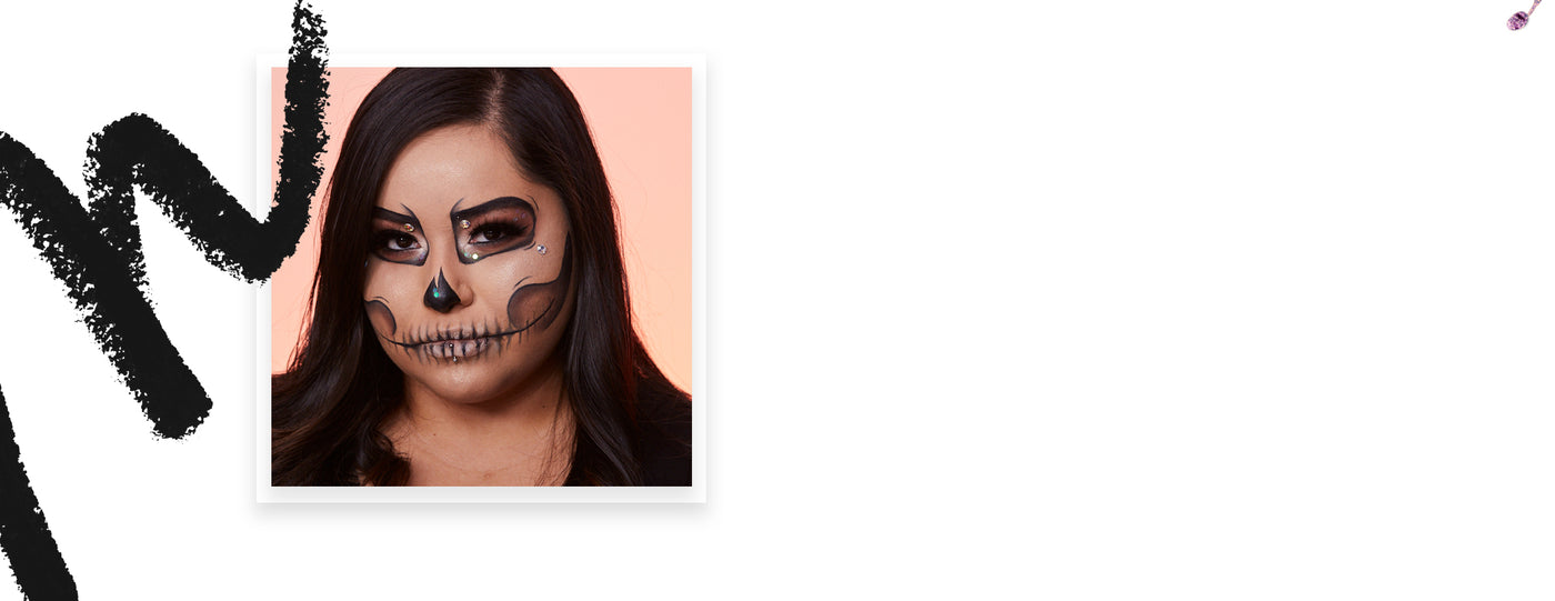 Glam Skull Halloween makeup look