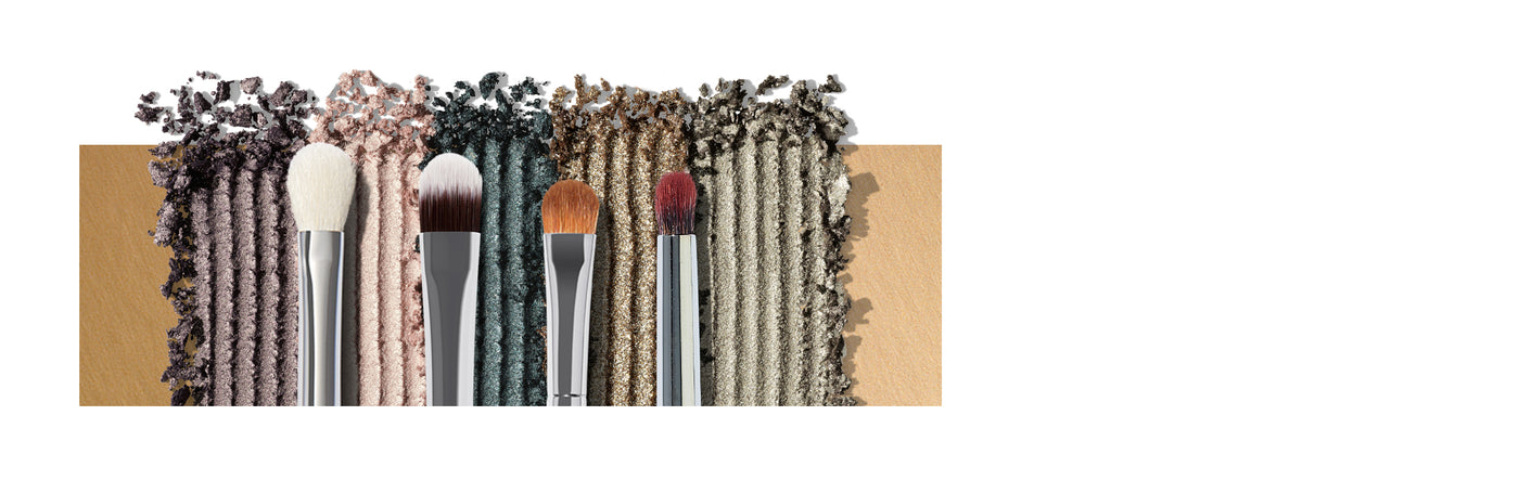 M433 Pro Firm Blending Fluff Brush, M224 Oval Camouflage Brush, M167 Oval Shadow Brush, EE36 Detail Crease Brush