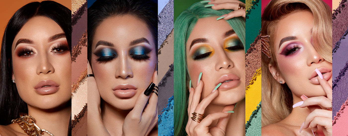 CassieeMUA and 3 models wearing the 18-pan artistry palettes