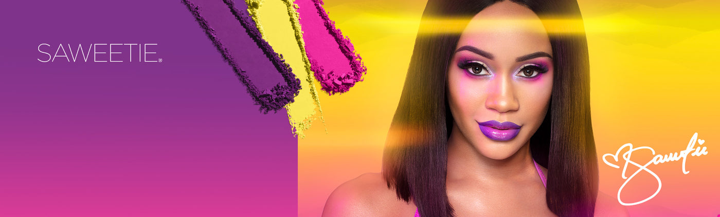 Saweetie & 24A Artist Pass artistry palette swatches on a gradient background