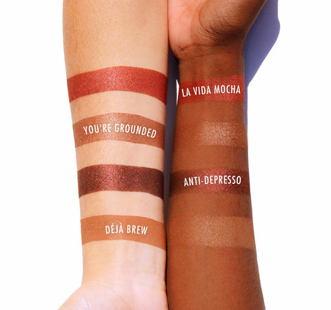 COFFEE & COCOA BRONZER PALETTE ARM SWATCHES