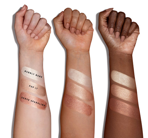 COCA-COLA X MORPHE GLOWING PLACES LOOSE HIGHLIGHTER - SERVE SPARKLING ARM SWATCHES