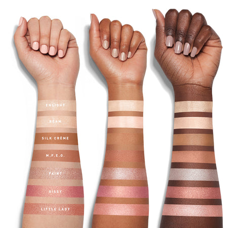 JACLYN HILL EYESHADOW PALETTE ARM SWATCHES