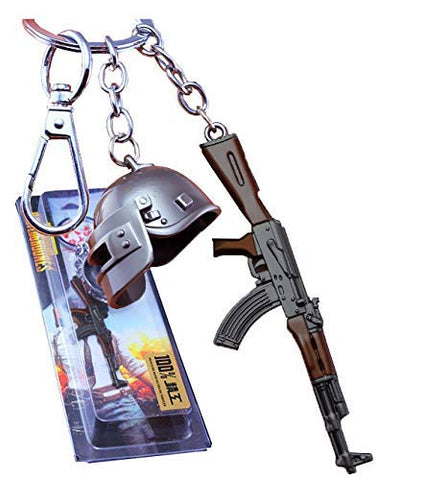 Click to open expanded view the purple tree PUBG Keychain with Level 3 Helmet and Akm Gun (Silver)