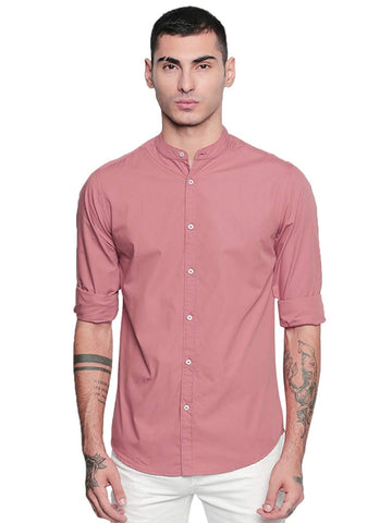 Dennis Lingo Men's Solid Chinese Collar Dusty Pink Casual Shirt