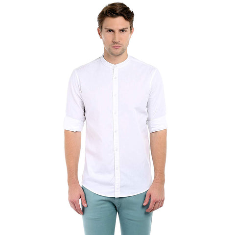Dennis Lingo Men's Cotton Casual Full Sleeves Slim fit White Shirt