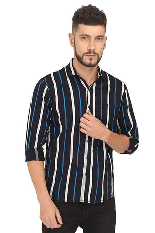 Genius18 Men Striped Black Slim fit Shirt