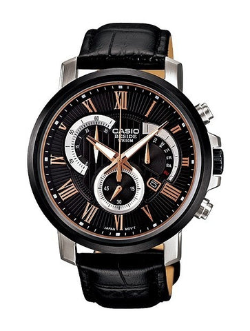 Black Chronograph Leather Gents Wrist Watch