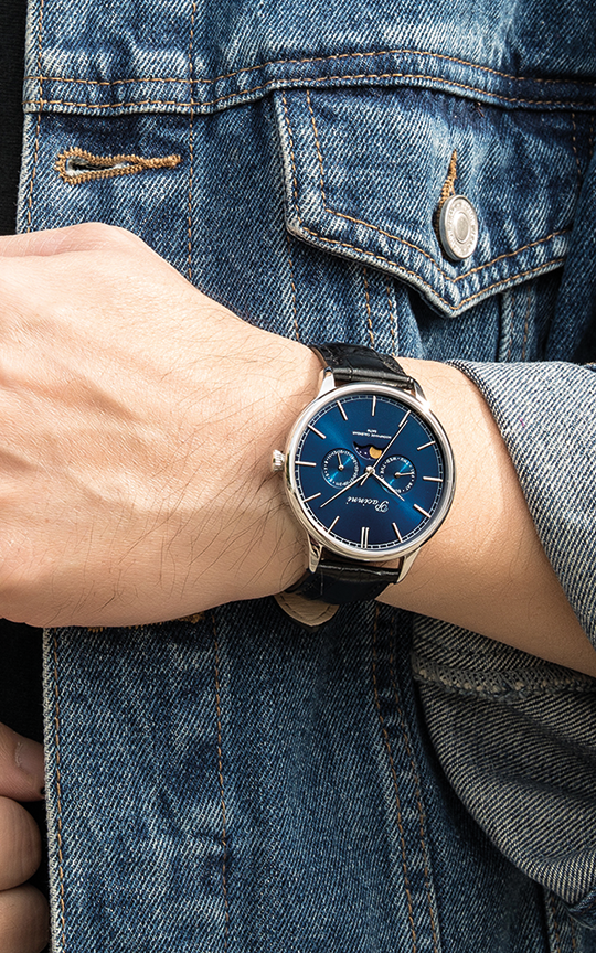 Moonphase Blue Silver
