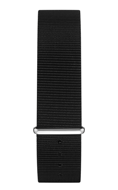 Black Nylon Strap 22 mm - Silver