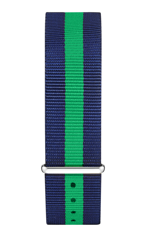 Blue Green Nylon Strap 22 mm - Silver