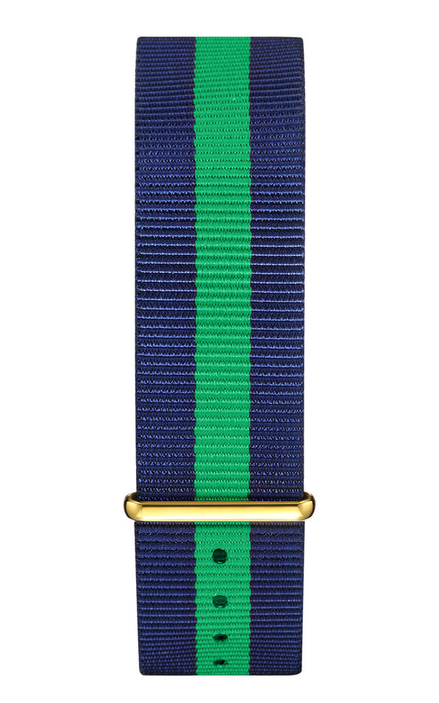 Blue Green Nylon Strap 22 mm - Gold