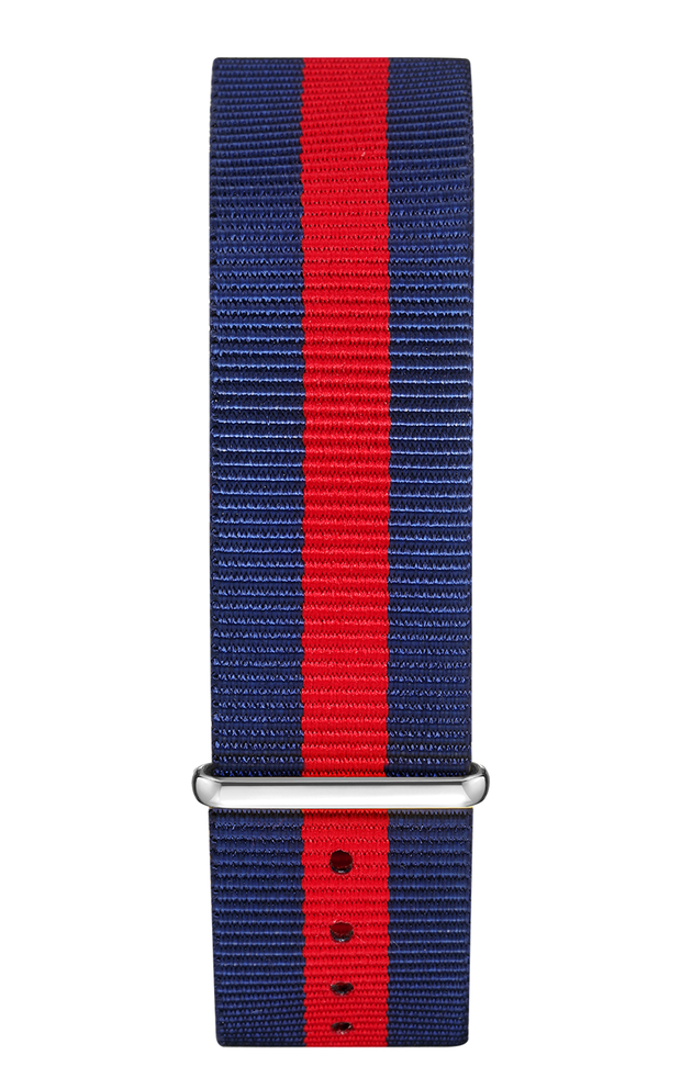 Blue Red Nylon Strap 22 mm - Silver