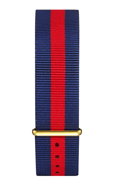 Blue Red Nylon Strap 22 mm - Gold