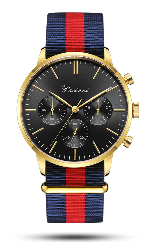 Chronograph Black Gold - Nato Blue Red