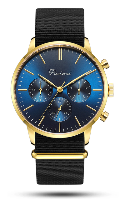 Chronograph Blue Gold - Nato Black