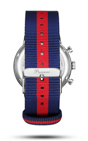 Chronograph Blue Silver - Nato Blue Red