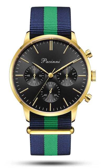 Chronograph Black Gold - Nato Blue Green