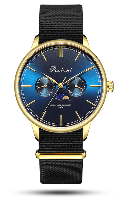 Moonphase Blue Gold - Nato Black