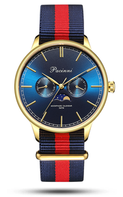 Moonphase Blue Gold - Nato Blue Red