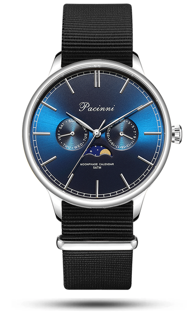 Moonphase Blue Silver - Nato Black