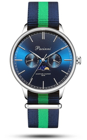 Moonphase Blue Silver - Nato Blue Green